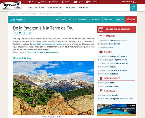 Portfolio Routard De la Patagonie à la Terre de Feu