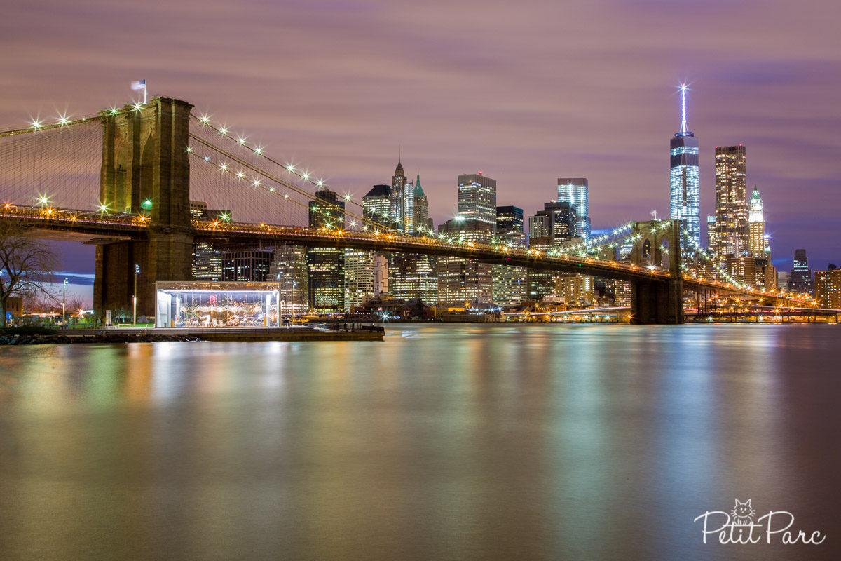 Brooklyn Bridge nuit pose longue