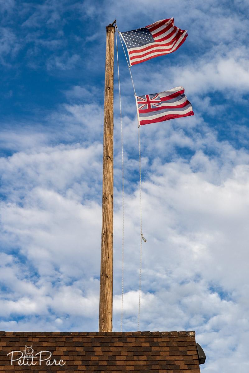 Drapeaux américain et hawaïen