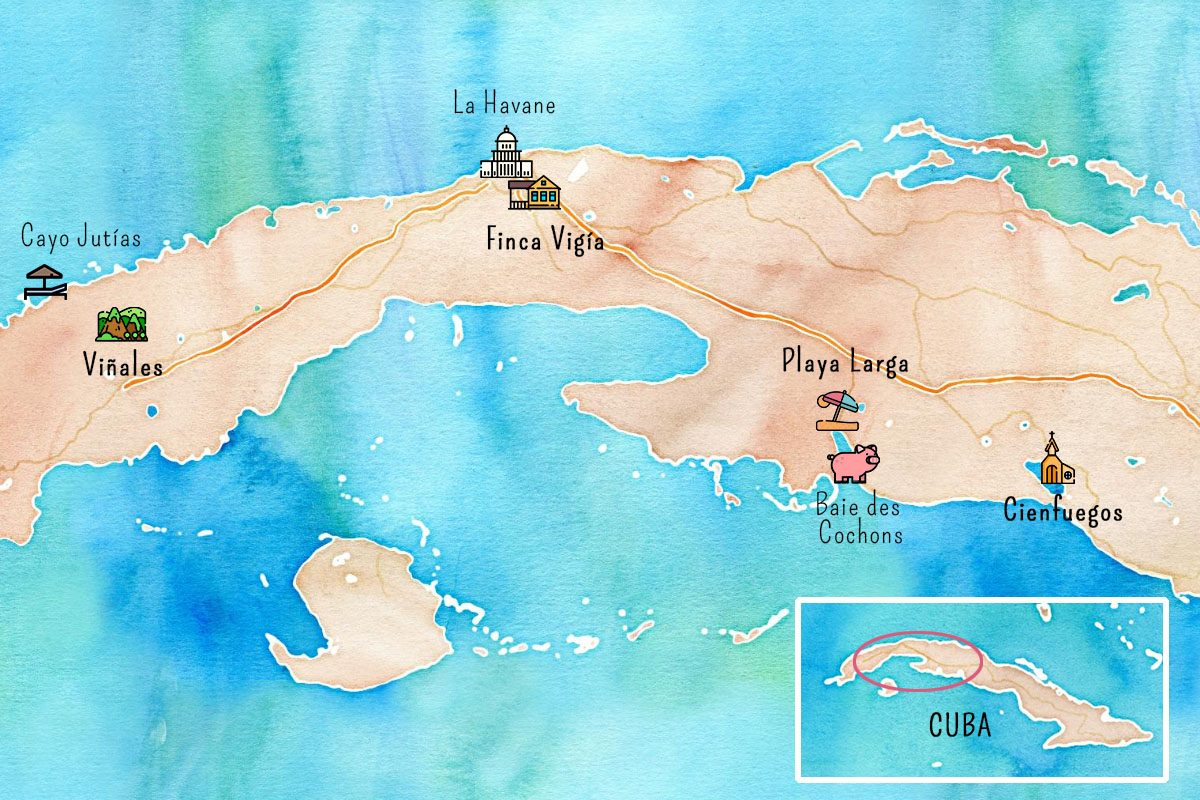 Carte de l'Ouest de Cuba