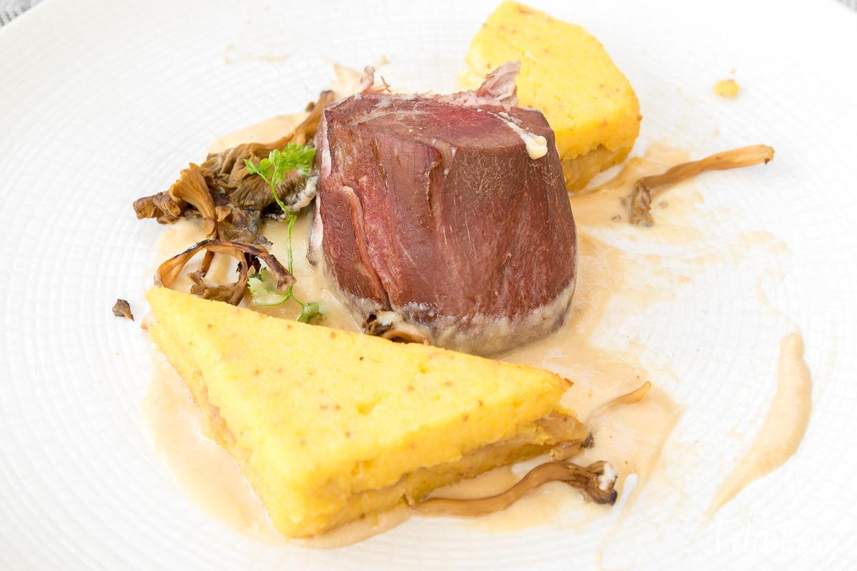 Plat : Mignon de veau, confit d'oignons et polenta