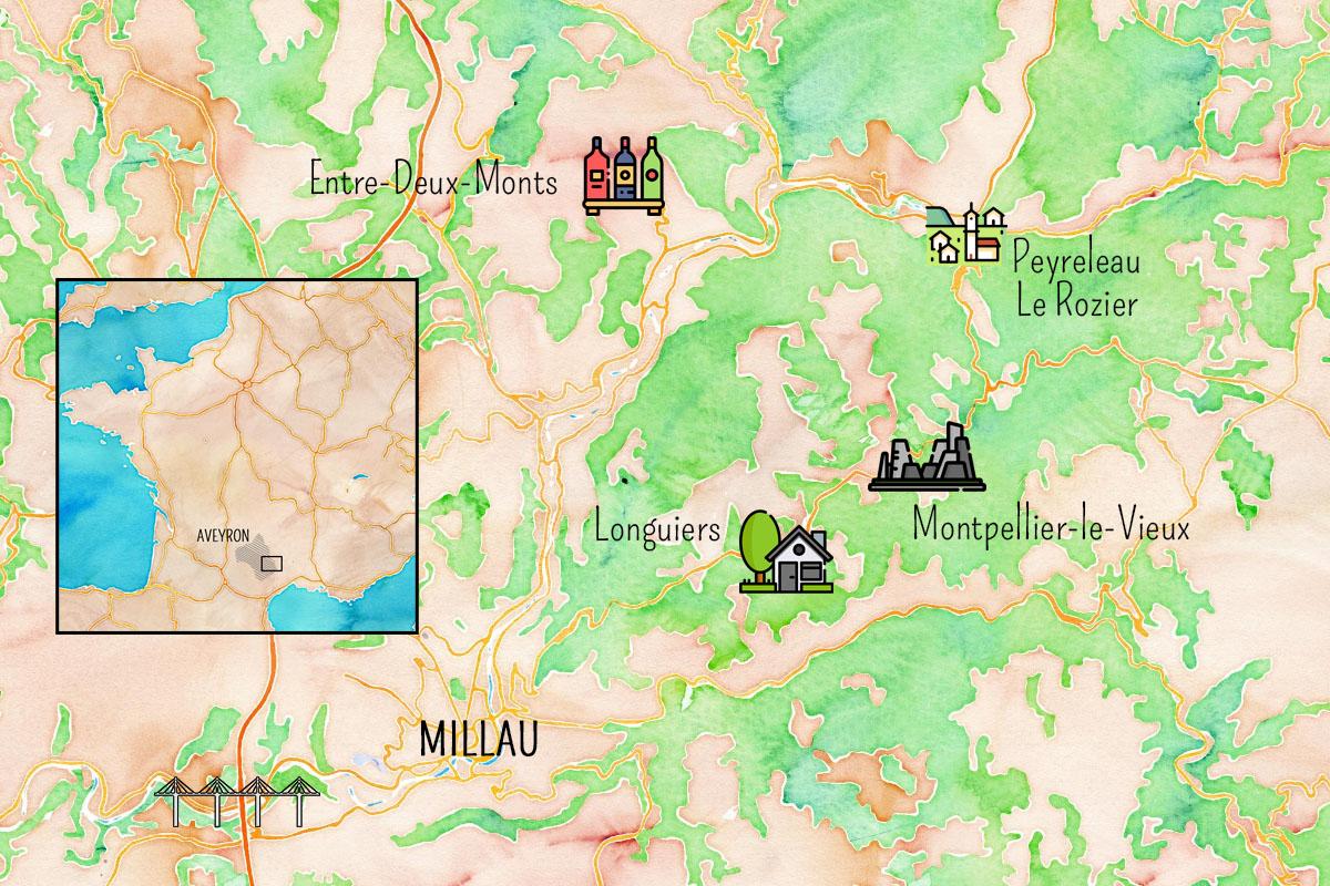 Carte de la journée en Aveyron aux alentours de Millau